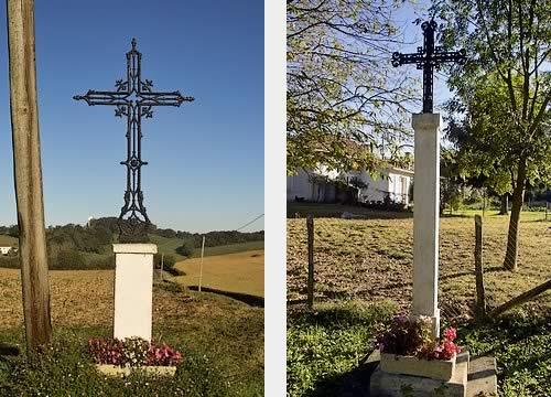 """Croix de Chemin dite de """"Tuhail"""" et croix monumentale près de Bergereta"""